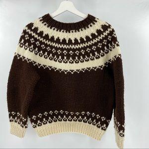 Hand knit vintage sweater brown & cream